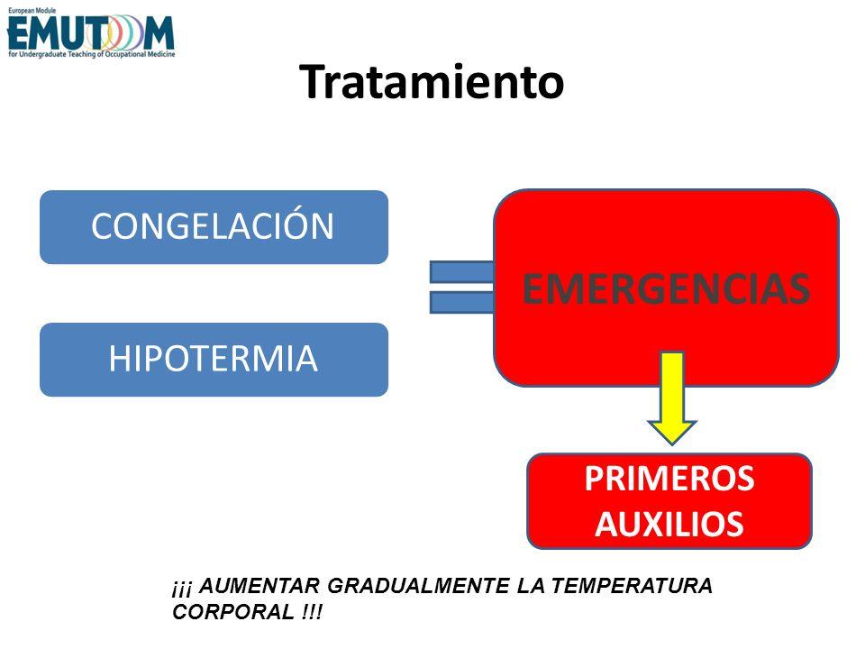 Tratamiento CONGELACIÓNHIPOTERMIA EMERGENCIAS FIRST AID PRIMEROS AUXILIOS ¡¡¡ AUMENTAR GRADUALMENTE LA TEMPERATURA CORPORAL !!!
