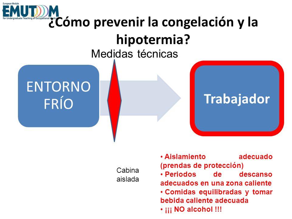 ¿Cómo prevenir la congelación y la hipotermia? ENTORNO FRÍO Trabajador Aislamiento adecuado (prendas de protección) Periodos de descanso adecuados en