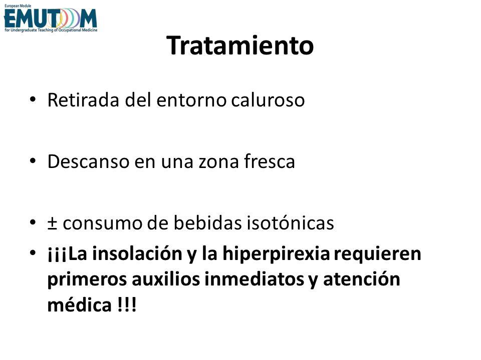 Tratamiento Retirada del entorno caluroso Descanso en una zona fresca ± consumo de bebidas isotónicas ¡¡¡La insolación y la hiperpirexia requieren pri