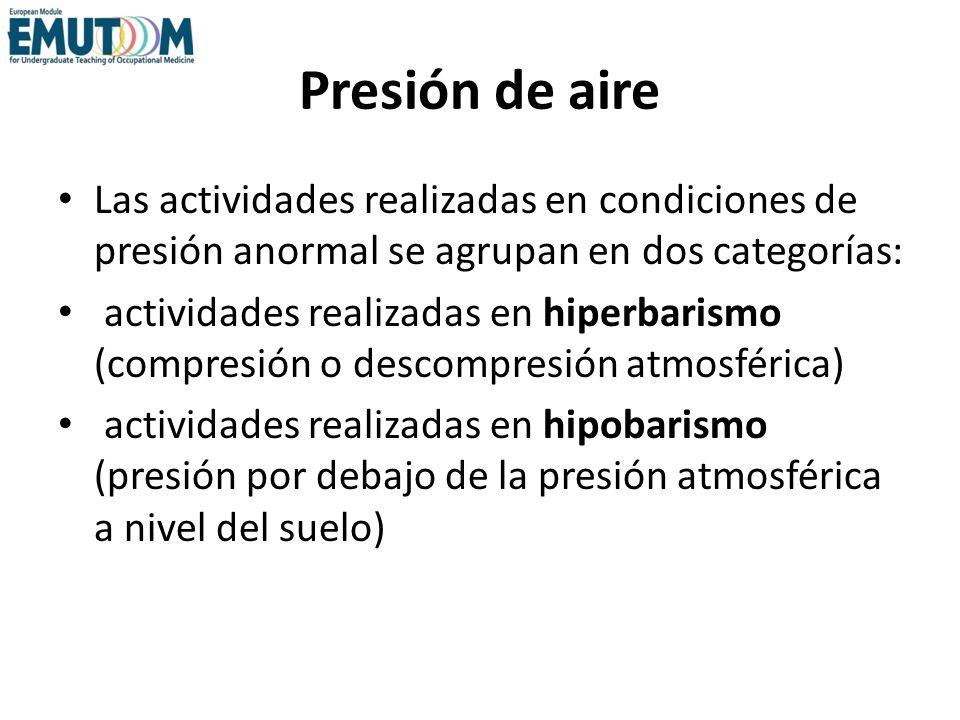 Presión de aire Las actividades realizadas en condiciones de presión anormal se agrupan en dos categorías: actividades realizadas en hiperbarismo (com