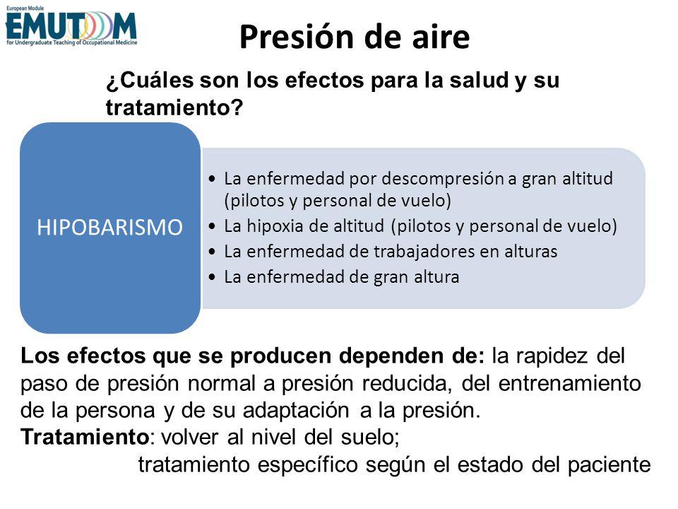Presión de aire La enfermedad por descompresión a gran altitud (pilotos y personal de vuelo) La hipoxia de altitud (pilotos y personal de vuelo) La en