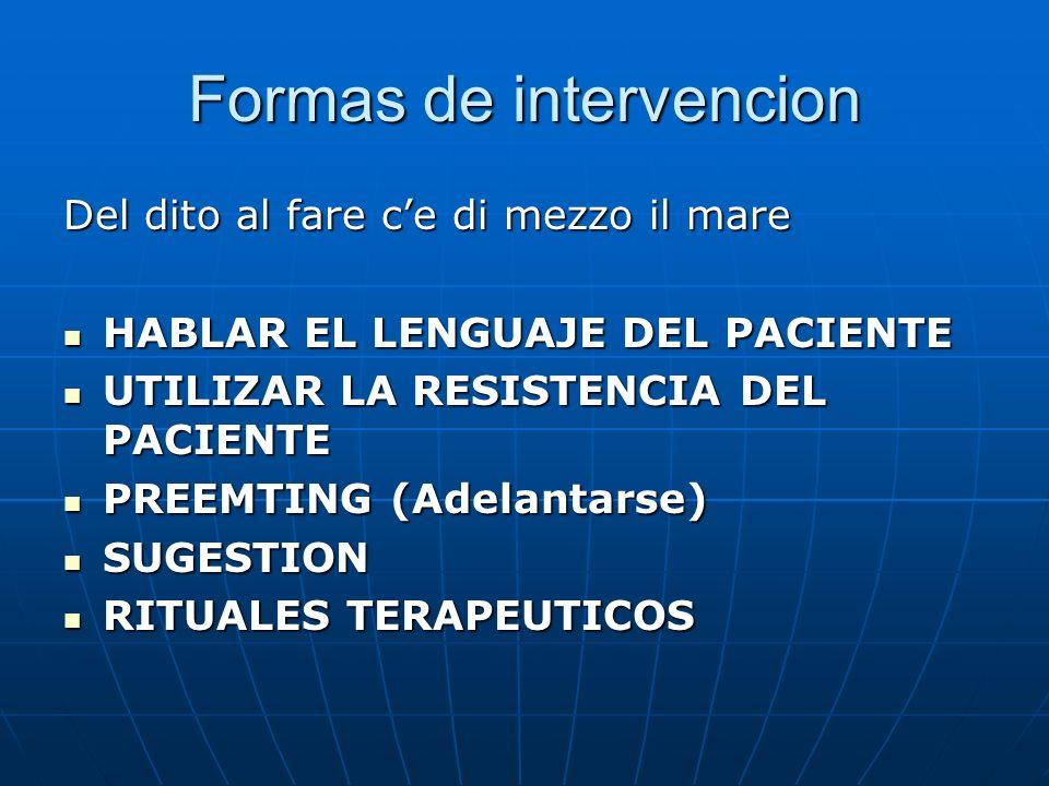 Formas de intervencion Del dito al fare ce di mezzo il mare HABLAR EL LENGUAJE DEL PACIENTE HABLAR EL LENGUAJE DEL PACIENTE UTILIZAR LA RESISTENCIA DEL PACIENTE UTILIZAR LA RESISTENCIA DEL PACIENTE PREEMTING (Adelantarse) PREEMTING (Adelantarse) SUGESTION SUGESTION RITUALES TERAPEUTICOS RITUALES TERAPEUTICOS