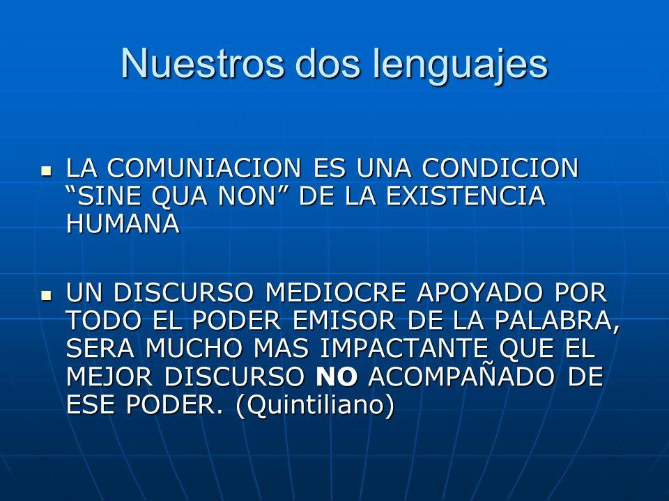 Nuestros dos lenguajes LA COMUNIACION ES UNA CONDICION SINE QUA NON DE LA EXISTENCIA HUMANA LA COMUNIACION ES UNA CONDICION SINE QUA NON DE LA EXISTENCIA HUMANA UN DISCURSO MEDIOCRE APOYADO POR TODO EL PODER EMISOR DE LA PALABRA, SERA MUCHO MAS IMPACTANTE QUE EL MEJOR DISCURSO NO ACOMPAÑADO DE ESE PODER.