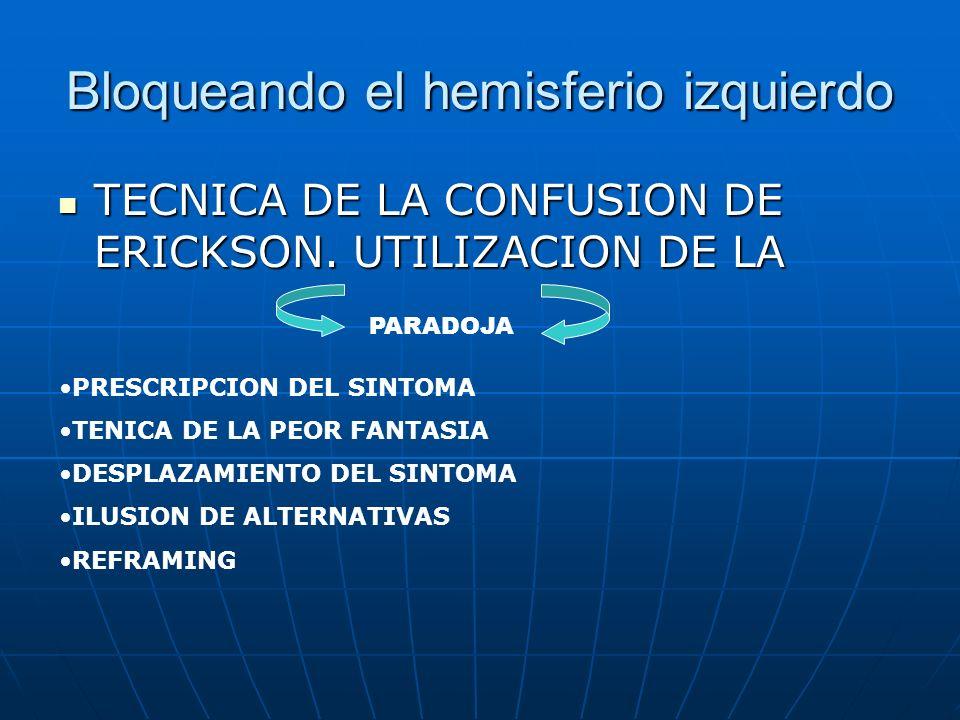 Bloqueando el hemisferio izquierdo TECNICA DE LA CONFUSION DE ERICKSON.