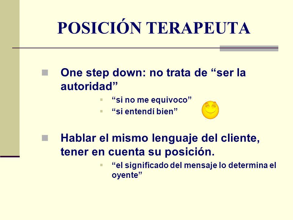 POSICIÓN TERAPEUTA One step down: no trata de ser la autoridad si no me equivoco si entendí bien Hablar el mismo lenguaje del cliente, tener en cuenta