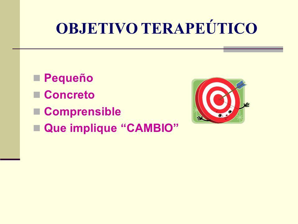 OBJETIVO TERAPEÚTICO Pequeño Concreto Comprensible Que implique CAMBIO