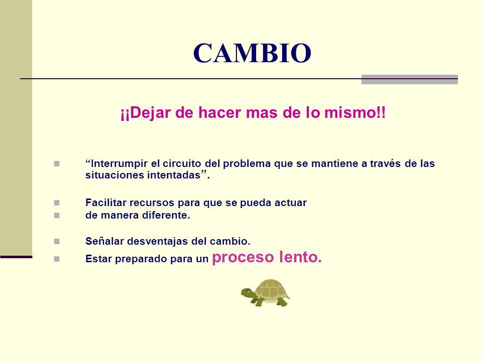 CAMBIO ¡¡Dejar de hacer mas de lo mismo!! Interrumpir el circuito del problema que se mantiene a través de las situaciones intentadas. Facilitar recur
