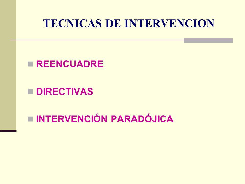 TECNICAS DE INTERVENCION REENCUADRE DIRECTIVAS INTERVENCIÓN PARADÓJICA