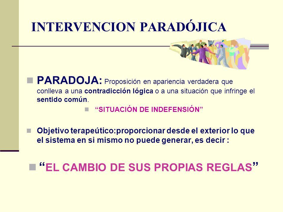 INTERVENCION PARADÓJICA PARADOJA: Proposición en apariencia verdadera que conlleva a una contradicción lógica o a una situación que infringe el sentid