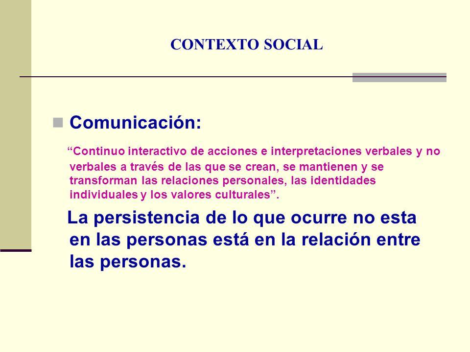 CONTEXTO SOCIAL Comunicación: Continuo interactivo de acciones e interpretaciones verbales y no verbales a través de las que se crean, se mantienen y