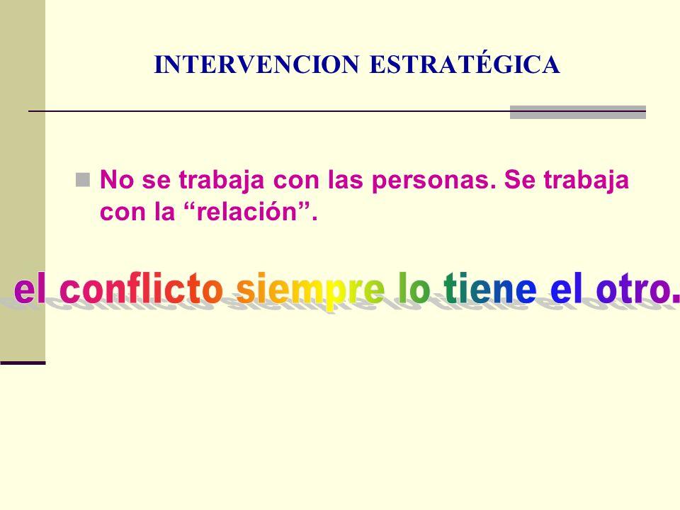 INTERVENCION ESTRATÉGICA No se trabaja con las personas. Se trabaja con la relación.