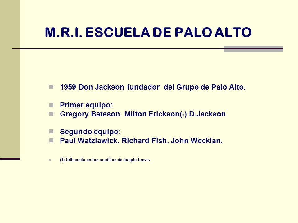 M.R.I. ESCUELA DE PALO ALTO 1959 Don Jackson fundador del Grupo de Palo Alto. Primer equipo: Gregory Bateson. Milton Erickson( 1 ) D.Jackson Segundo e