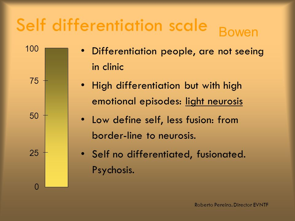 Roberto Pereira. Director EVNTF Self differentiation scale Differentiation people, are not seeing in clinic High differentiation but with high emotion