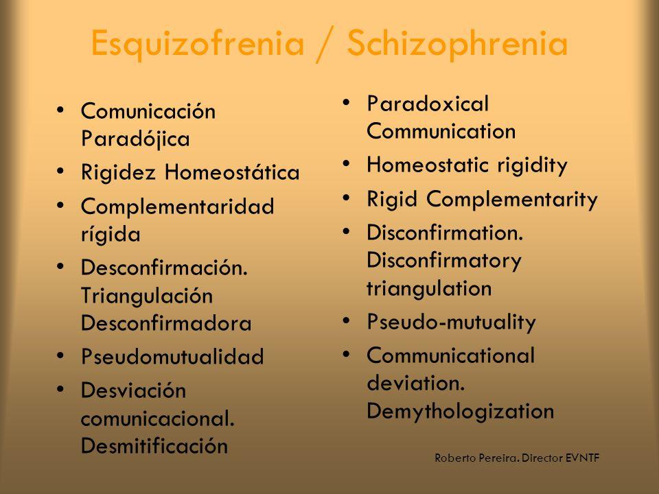 Roberto Pereira. Director EVNTF Esquizofrenia / Schizophrenia Comunicación Paradójica Rigidez Homeostática Complementaridad rígida Desconfirmación. Tr