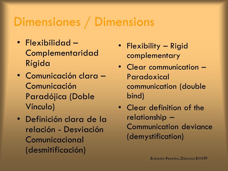 Roberto Pereira. Director EVNTF Dimensiones / Dimensions Flexibilidad – Complementaridad Rígida Comunicación clara – Comunicación Paradójica (Doble Ví