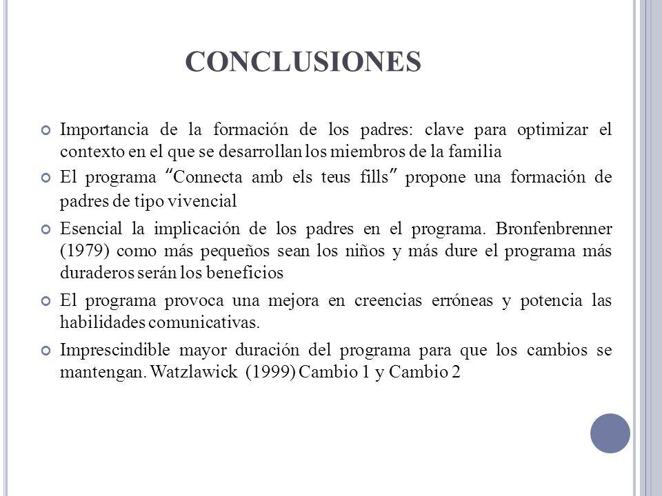 CONCLUSIONES Importancia de la formación de los padres: clave para optimizar el contexto en el que se desarrollan los miembros de la familia El progra