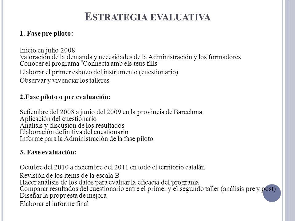 E STRATEGIA EVALUATIVA 1. Fase pre piloto: Inicio en julio 2008 Valoración de la demanda y necesidades de la Administración y los formadores Conocer e