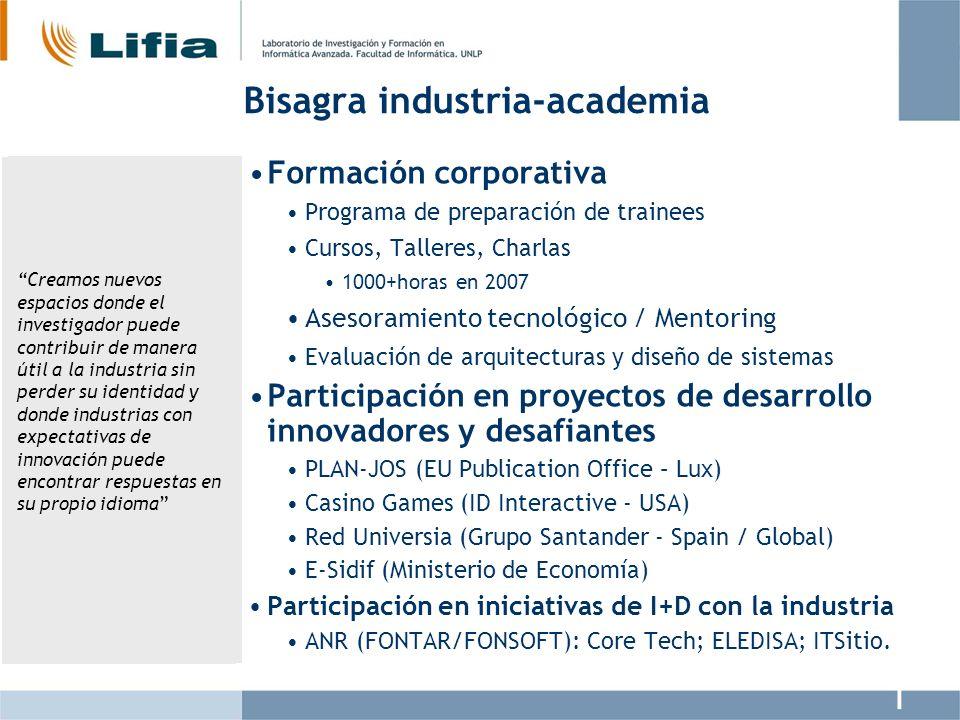 Bisagra industria-academia Formación corporativa Programa de preparación de trainees Cursos, Talleres, Charlas 1000+horas en 2007 Asesoramiento tecnol
