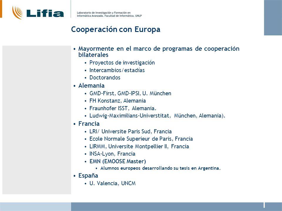 Cooperación con Europa Mayormente en el marco de programas de cooperación bilaterales Proyectos de investigación Intercambios/estadías Doctorandos Ale