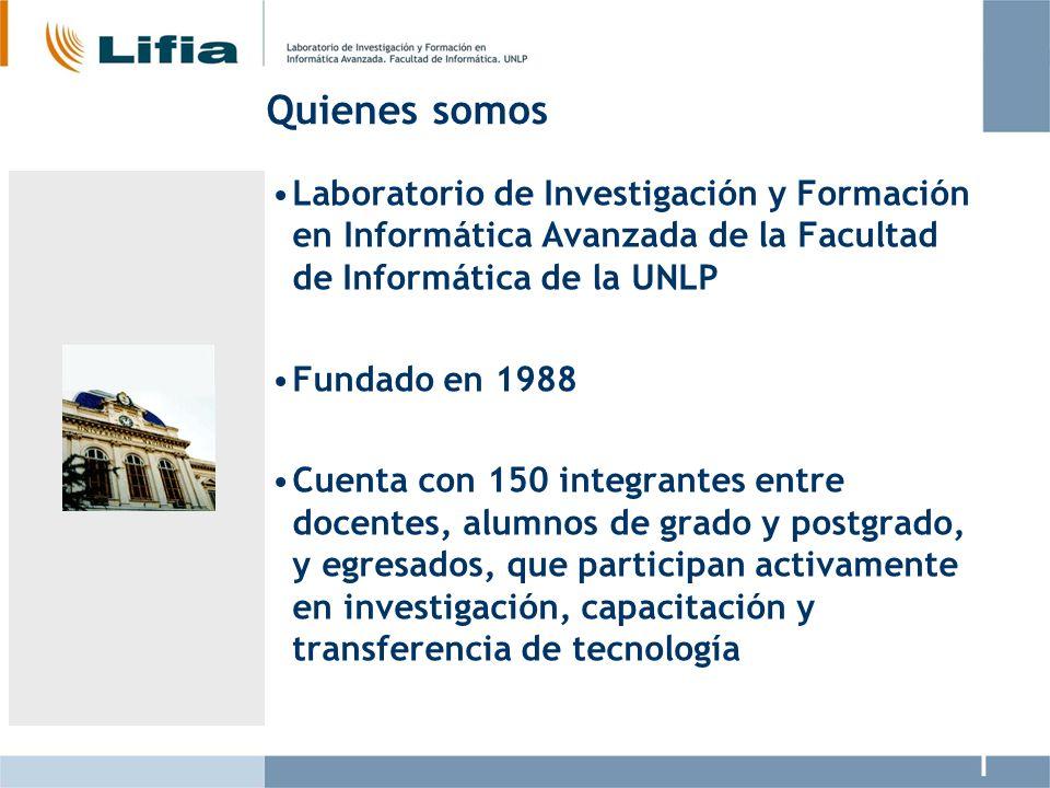 Quienes somos Laboratorio de Investigación y Formación en Informática Avanzada de la Facultad de Informática de la UNLP Fundado en 1988 Cuenta con 150