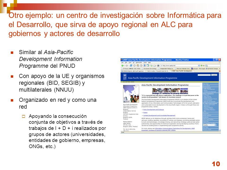 10 Otro ejemplo: un centro de investigación sobre Informática para el Desarrollo, que sirva de apoyo regional en ALC para gobiernos y actores de desar