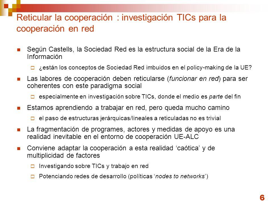 6 Reticular la cooperación : investigación TICs para la cooperación en red Según Castells, la Sociedad Red es la estructura social de la Era de la Inf
