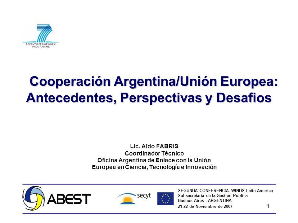 SEGUNDA CONFERENCIA WINDS Latin America Subsecretaria de la Gestion Publica Buenos Aires - ARGENTINA 21-22 de Noviembre de 2007 1 Cooperación Argentin