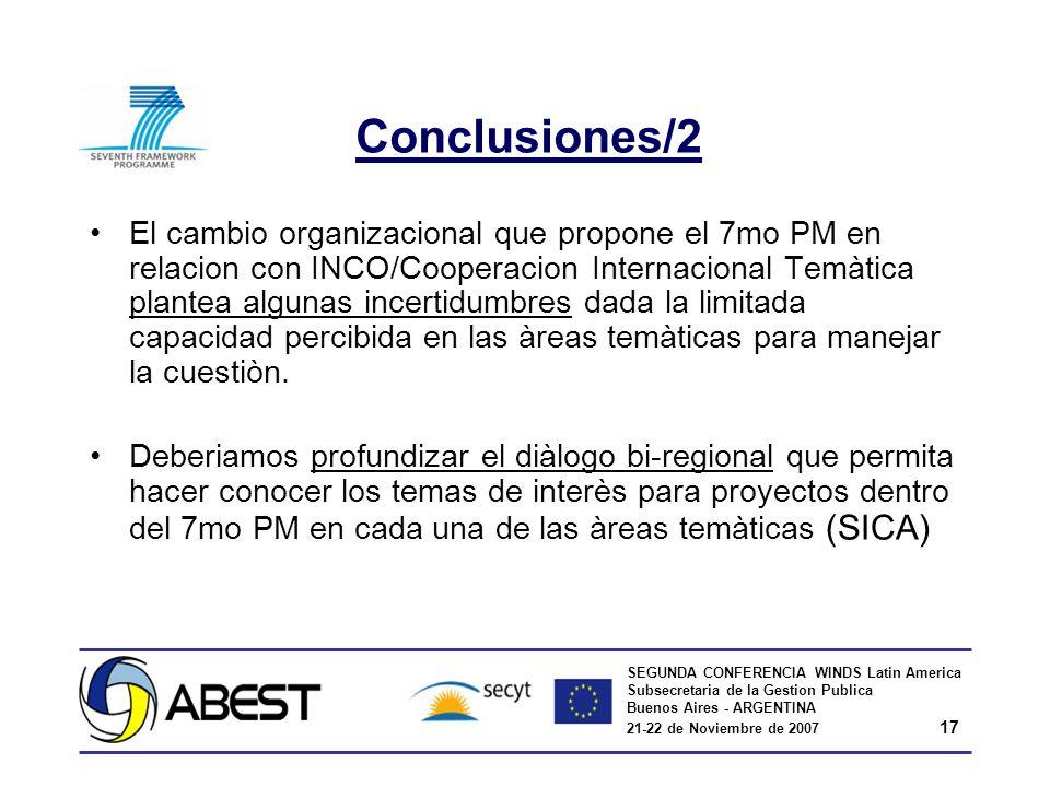 SEGUNDA CONFERENCIA WINDS Latin America Subsecretaria de la Gestion Publica Buenos Aires - ARGENTINA 21-22 de Noviembre de 2007 17 Conclusiones/2 El c