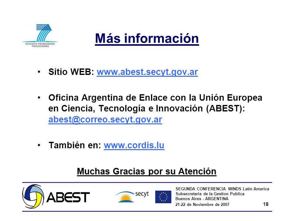 SEGUNDA CONFERENCIA WINDS Latin America Subsecretaria de la Gestion Publica Buenos Aires - ARGENTINA 21-22 de Noviembre de 2007 18 Más información Sitio WEB: www.abest.secyt.gov.arwww.abest.secyt.gov.ar Oficina Argentina de Enlace con la Unión Europea en Ciencia, Tecnología e Innovación (ABEST): abest@correo.secyt.gov.ar abest@correo.secyt.gov.ar También en: www.cordis.luwww.cordis.lu Muchas Gracias por su Atención