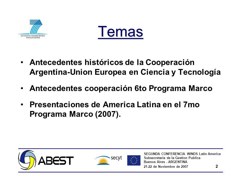 SEGUNDA CONFERENCIA WINDS Latin America Subsecretaria de la Gestion Publica Buenos Aires - ARGENTINA 21-22 de Noviembre de 2007 2 Temas Antecedentes históricos de la Cooperación Argentina-Union Europea en Ciencia y Tecnología Antecedentes cooperación 6to Programa Marco Presentaciones de America Latina en el 7mo Programa Marco (2007).