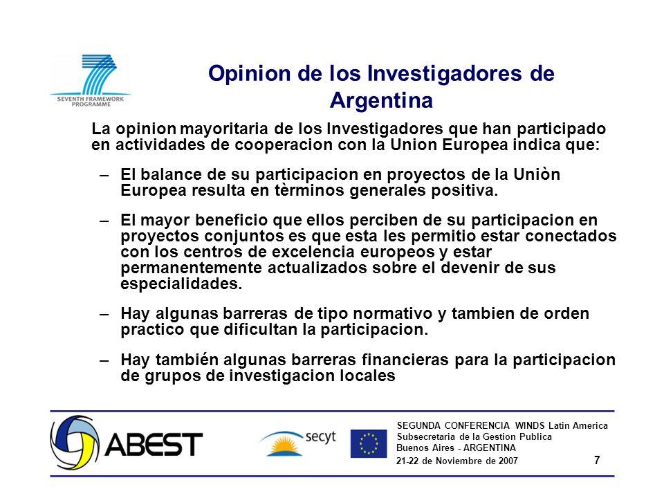 SEGUNDA CONFERENCIA WINDS Latin America Subsecretaria de la Gestion Publica Buenos Aires - ARGENTINA 21-22 de Noviembre de 2007 7 Opinion de los Inves