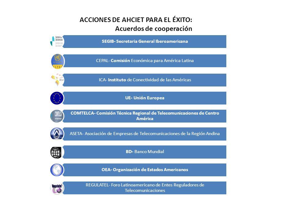 ACCIONES DE AHCIET PARA EL ÉXITO: Acuerdos de cooperación SEGIB- Secretaria General Iberoamericana CEPAL- Comisión Económica para América Latina ICA-