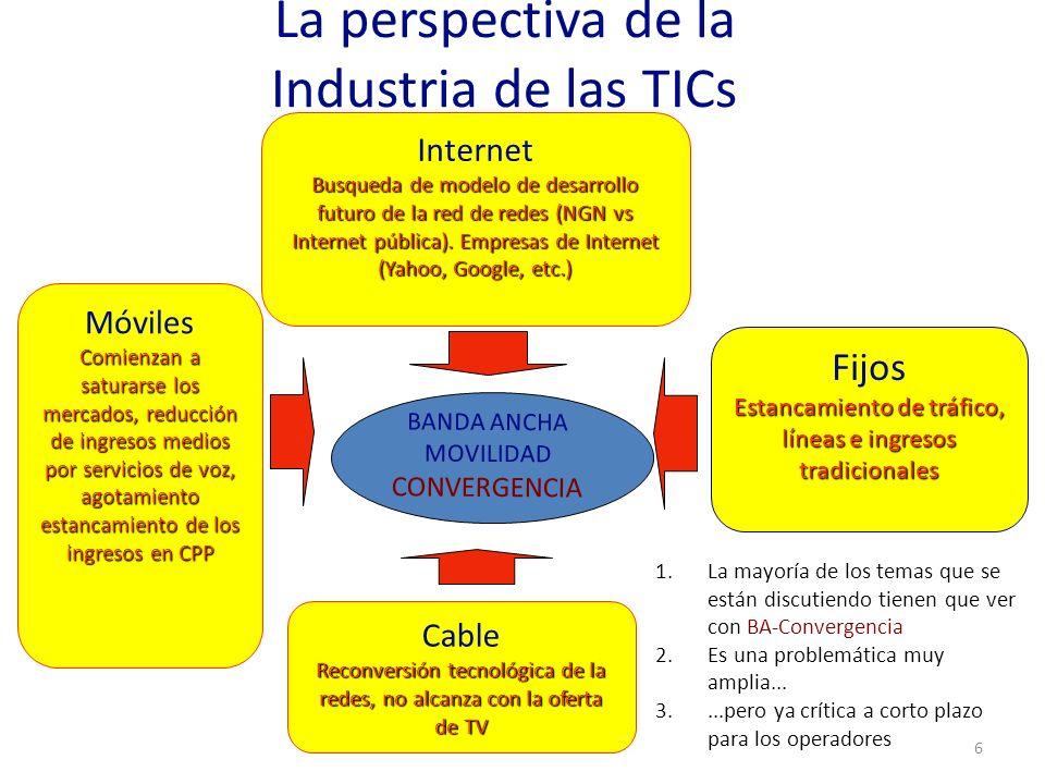 La perspectiva de la Industria de las TICs 6 1.La mayoría de los temas que se están discutiendo tienen que ver con BA-Convergencia 2.Es una problemáti