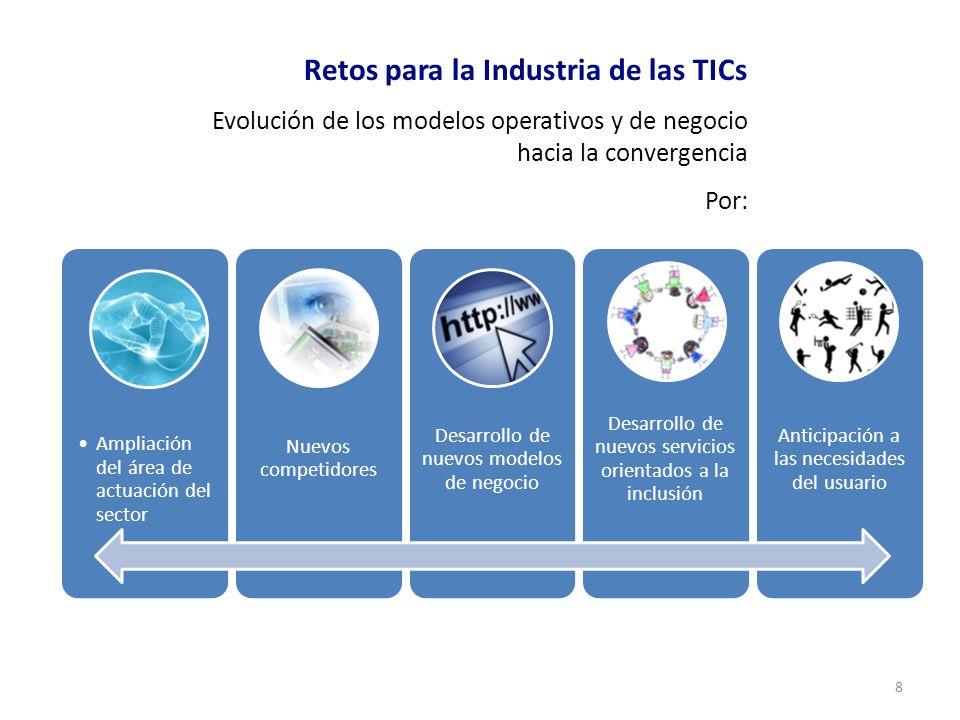 8 Retos para la Industria de las TICs Evolución de los modelos operativos y de negocio hacia la convergencia Por: Ampliación del área de actuación del