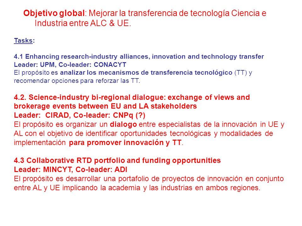 Objetivo global: Mejorar la transferencia de tecnología Ciencia e Industria entre ALC & UE.