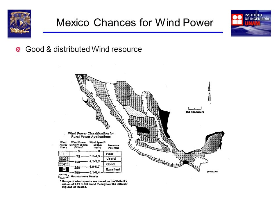 Mexico Chances for Wind Power Good & distributed Wind resource