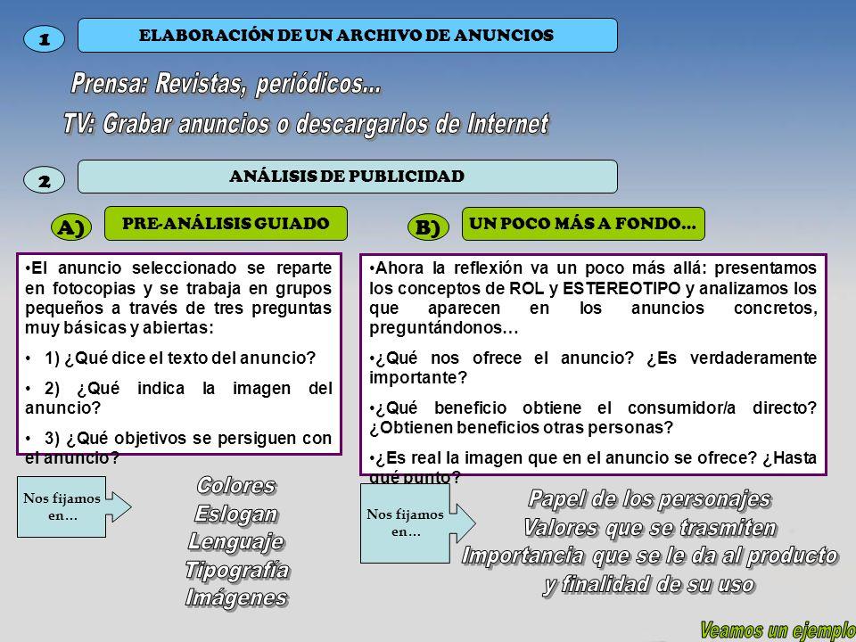 1 ELABORACIÓN DE UN ARCHIVO DE ANUNCIOS El anuncio seleccionado se reparte en fotocopias y se trabaja en grupos pequeños a través de tres preguntas mu