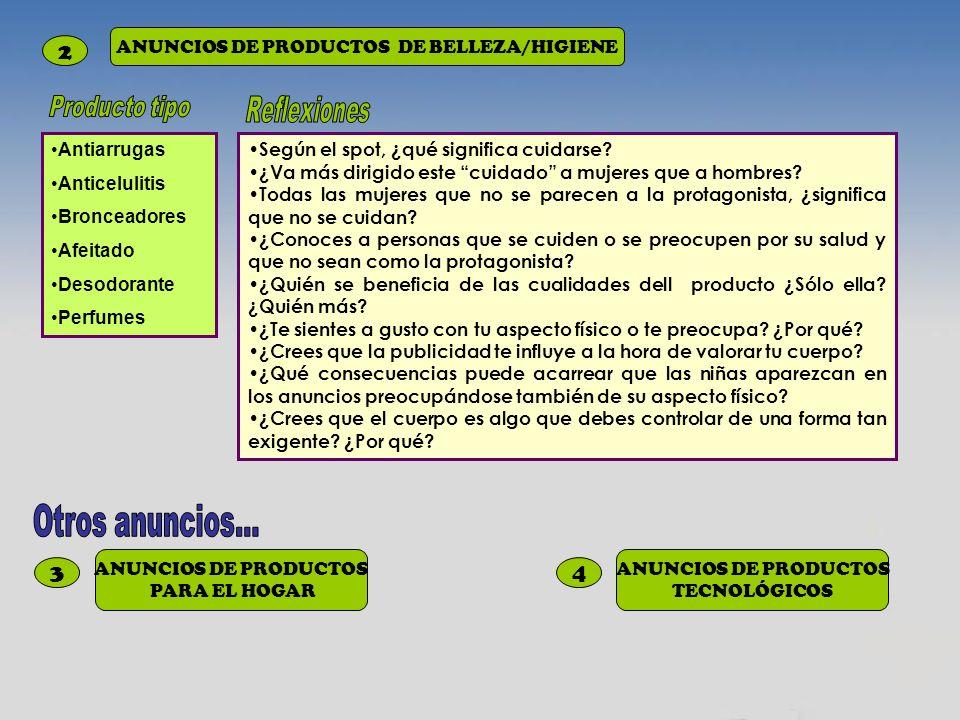 3 ANUNCIOS DE PRODUCTOS PARA EL HOGAR 4 ANUNCIOS DE PRODUCTOS TECNOLÓGICOS 2 ANUNCIOS DE PRODUCTOS DE BELLEZA/HIGIENE Antiarrugas Anticelulitis Bronce