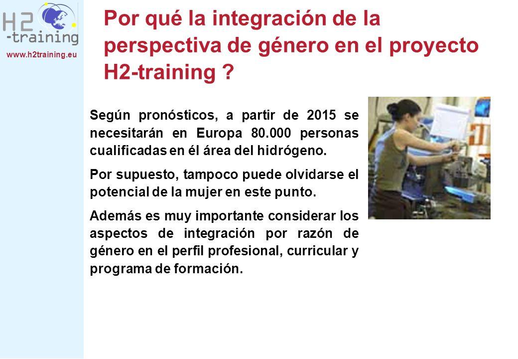 www.h2training.eu Por qué la integración de la perspectiva de género en el proyecto H2-training ? Según pronósticos, a partir de 2015 se necesitarán e