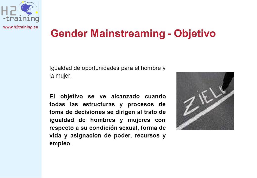 www.h2training.eu Gender Mainstreaming - Objetivo Igualdad de oportunidades para el hombre y la mujer. El objetivo se ve alcanzado cuando todas las es