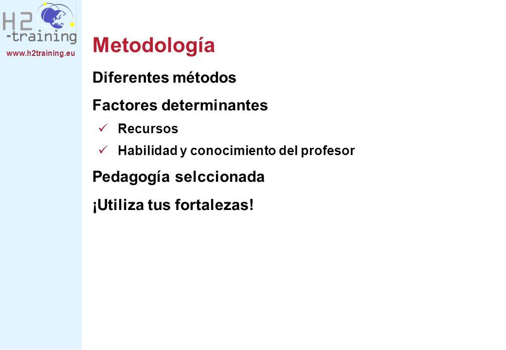 www.h2training.eu Metodología Diferentes métodos Factores determinantes Recursos Habilidad y conocimiento del profesor Pedagogía selccionada ¡Utiliza tus fortalezas!