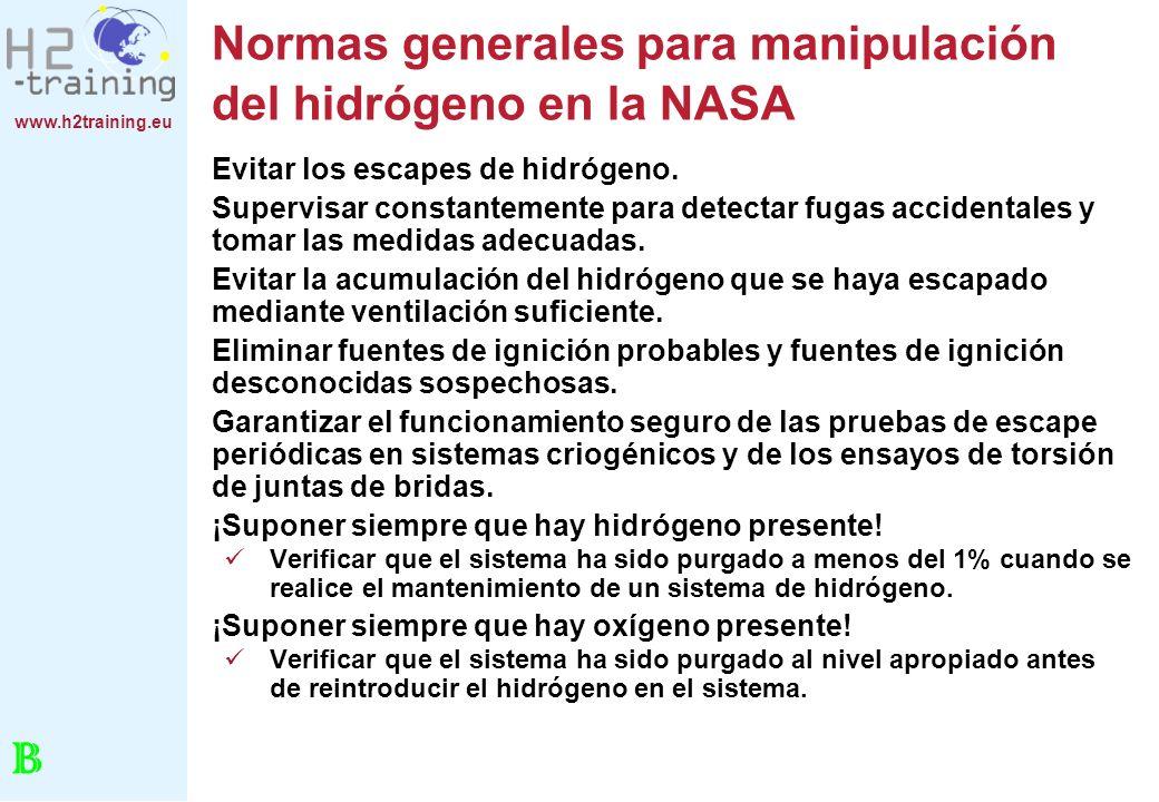 www.h2training.eu Normas generales para manipulación del hidrógeno en la NASA Evitar los escapes de hidrógeno. Supervisar constantemente para detectar