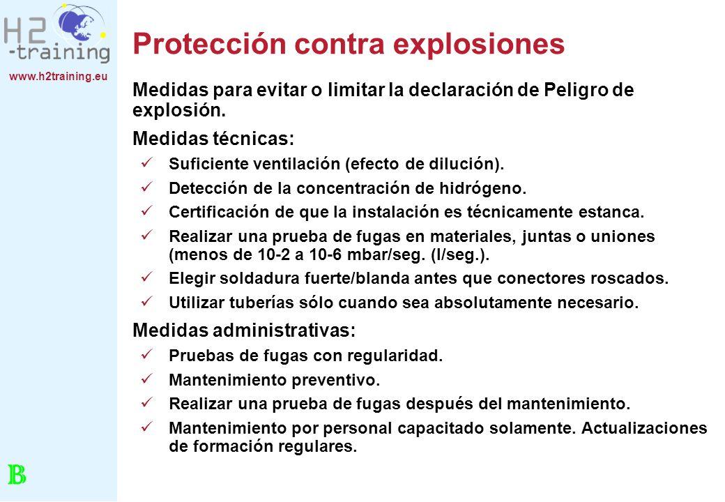 www.h2training.eu Protección contra explosiones Medidas para evitar o limitar la declaración de Peligro de explosión. Medidas técnicas: Suficiente ven