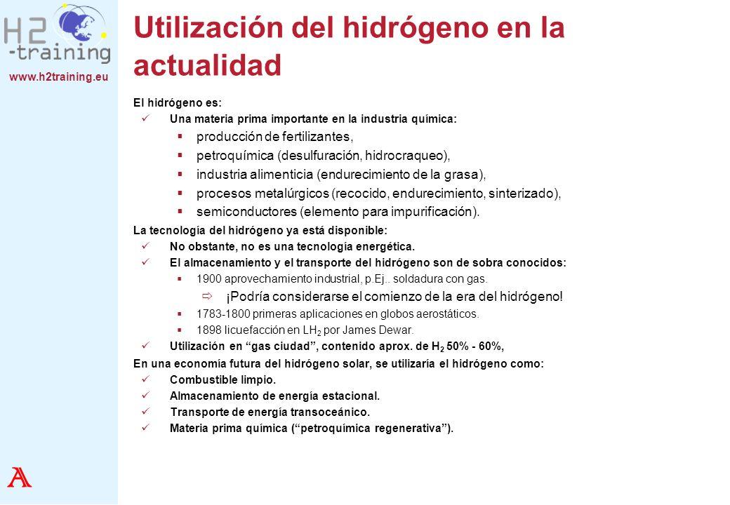 www.h2training.eu Datos fisicoquímicos del hidrógeno (Número CAS 01333-74-0) Densidad (273,15K, 1013mbar)0,0899 Kg./Nm³ Punto de ebullición (1 bar)-252,8 °C20,3 K Calor de evaporación445,4 kJ/Kg.