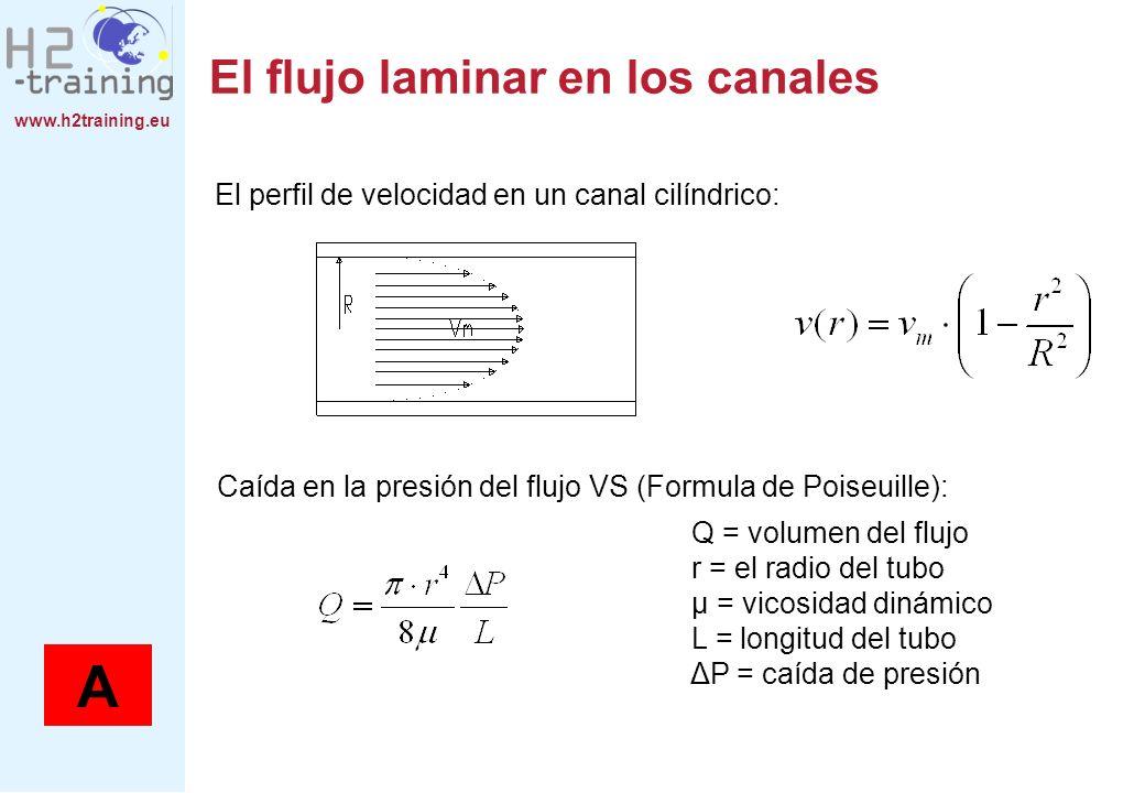 www.h2training.eu El flujo laminar en los canales El perfil de velocidad en un canal cilíndrico: Caída en la presión del flujo VS (Formula de Poiseuil