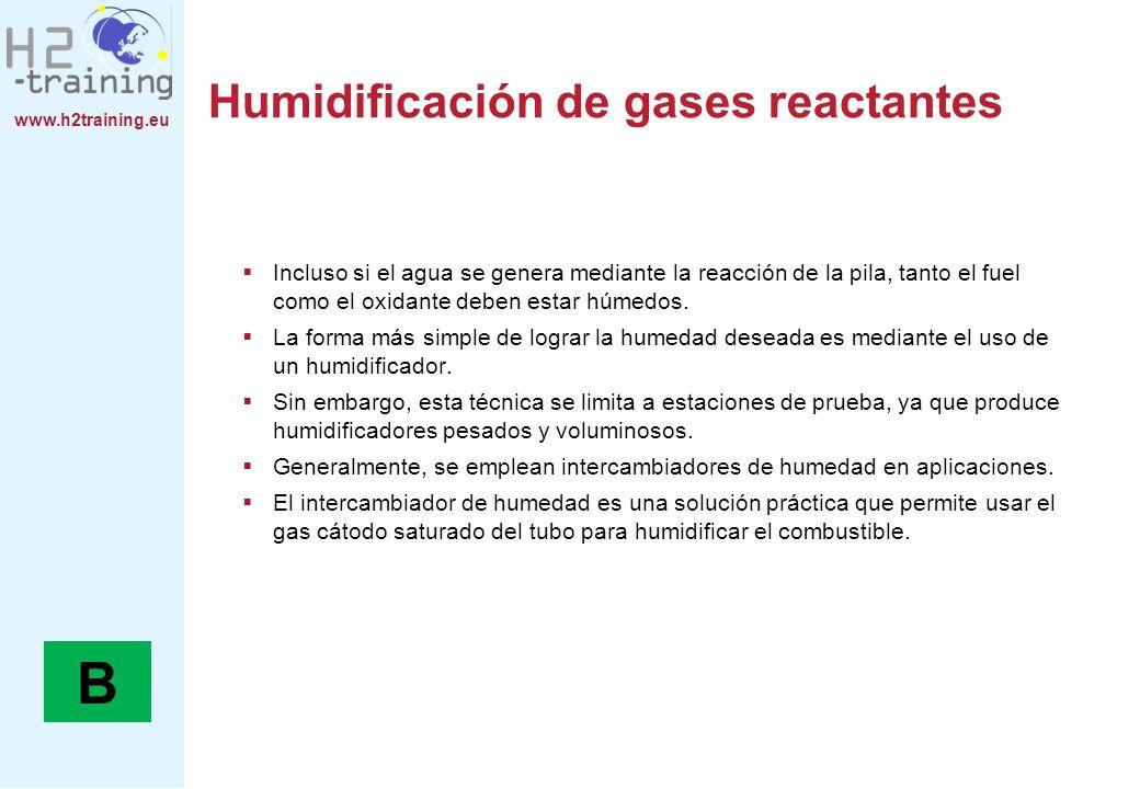 www.h2training.eu Humidificación de gases reactantes Incluso si el agua se genera mediante la reacción de la pila, tanto el fuel como el oxidante debe