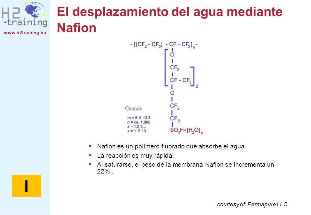 www.h2training.eu El desplazamiento del agua mediante Nafion courtesy of: Permapure LLC Nafion es un polímero fluorado que absorbe el agua. La reacció
