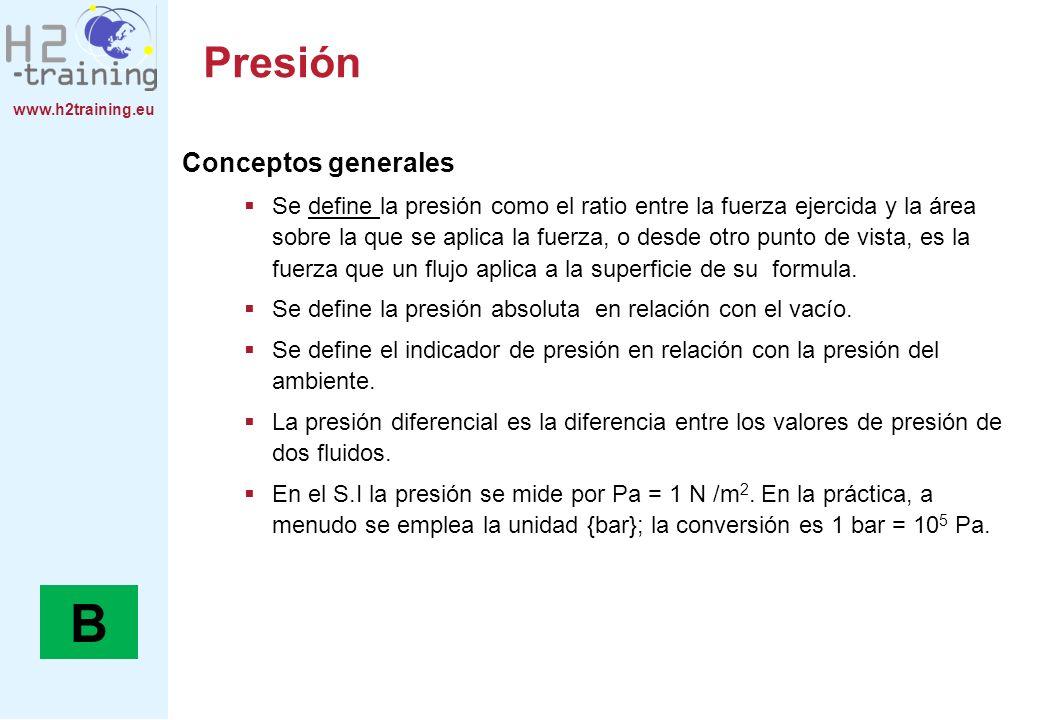 www.h2training.eu Presión Conceptos generales Se define la presión como el ratio entre la fuerza ejercida y la área sobre la que se aplica la fuerza,