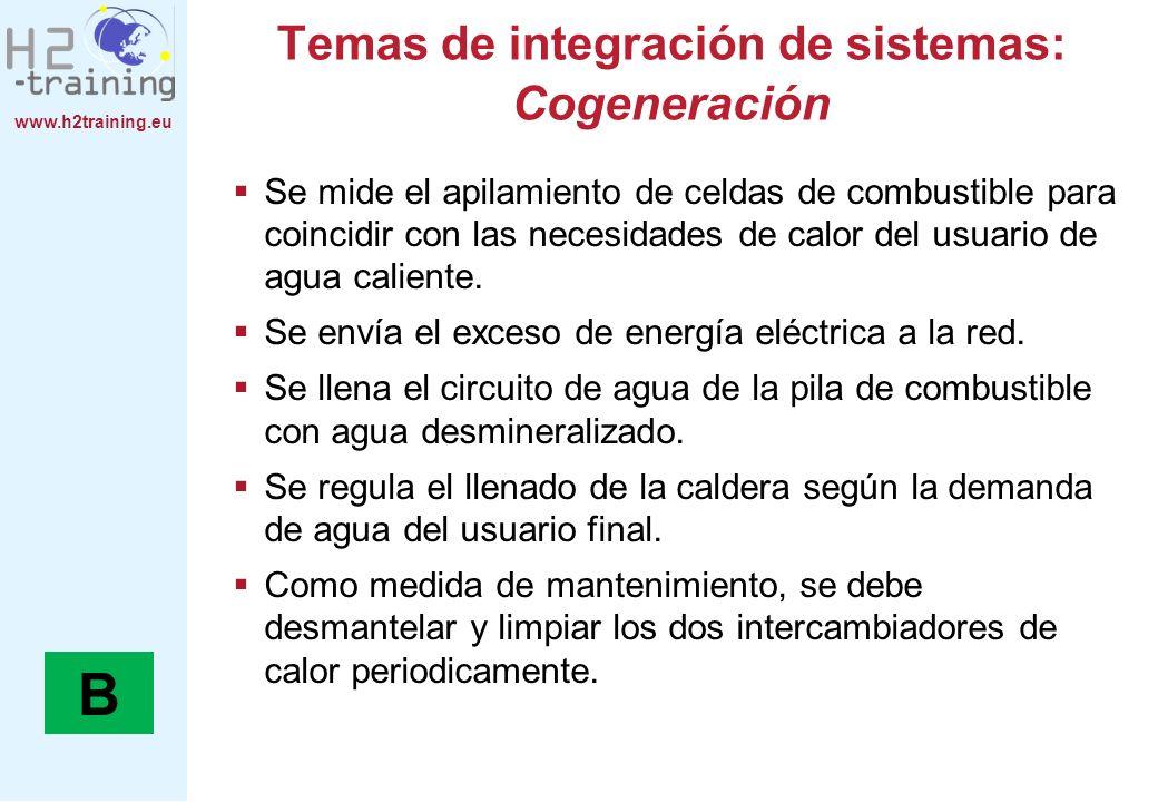 www.h2training.eu Temas de integración de sistemas: Cogeneración Se mide el apilamiento de celdas de combustible para coincidir con las necesidades de