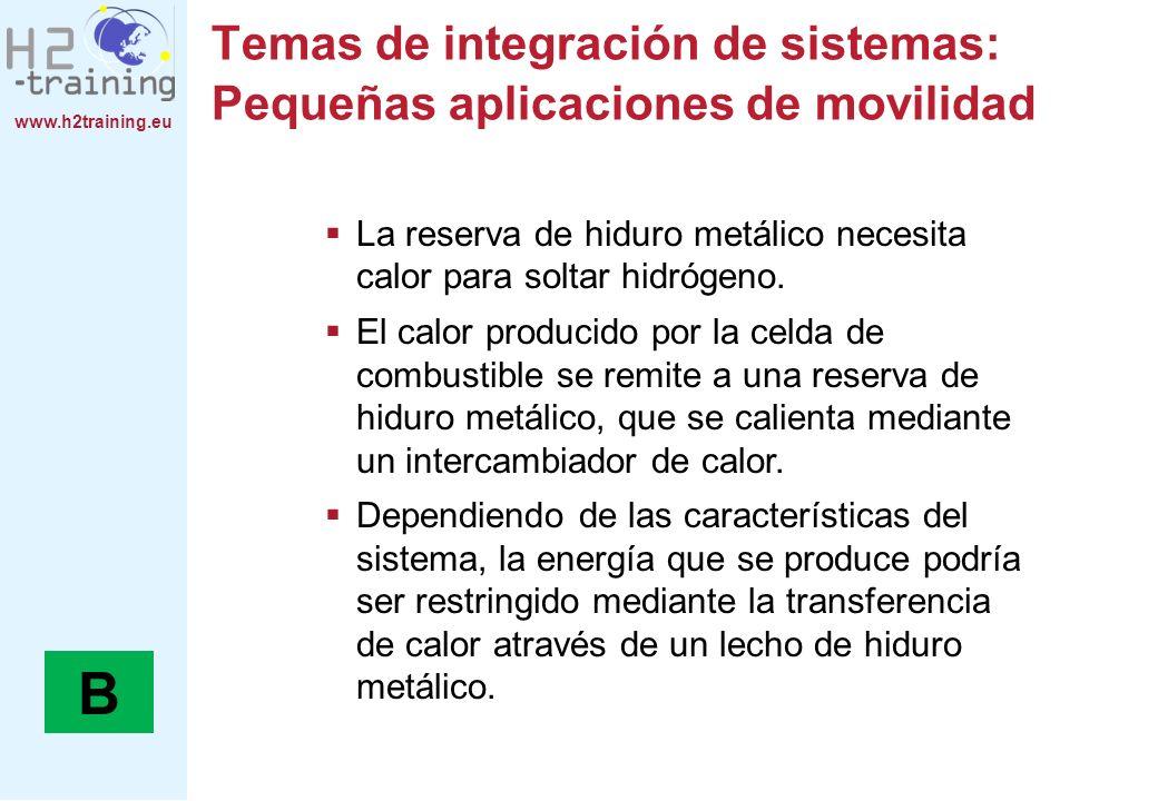 www.h2training.eu Temas de integración de sistemas: Pequeñas aplicaciones de movilidad La reserva de hiduro metálico necesita calor para soltar hidróg